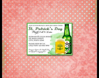 St. Patrick's Day Invitation / Beer Bottle & Beer Mug / Octoberfest Party / Watercolor / St. Pat Invite / Celtic / DIY 5x7 PDF PRINTABLE