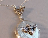 Little Bee,Necklace,Bee Necklace,Bee Locket,Sterling Silver,Bee Jewelry,Queen Bee,Baby,Bee,Sterling Bee Locket,Locket,valleygirldesigns