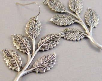 Rustic Olive Branch,Silver Twig Earring,Wedding Jewelry,Branch Earring,Twig Earring,Leaf Earring,Tree Earring,Silver Earring,Wedding