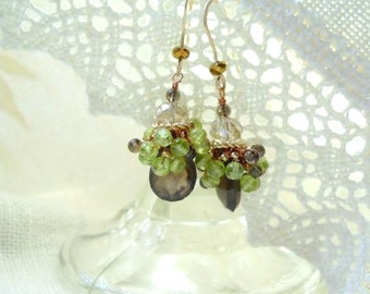 Smokey Quartz and Peridot Gemstone Cluster Earrings