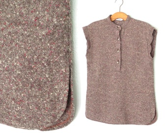 Wool 70s Blouse * Tweed 1970s Blouse * Vintage Henley Shirt * Large