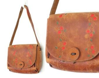 Tooled Leather Purse * 70s Saddle Bag * Painted Floral Shoulder Bag