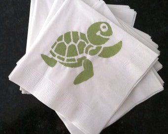 Green and White Turtle Paper Cocktail/ Luncheon/ Dinner Napkins