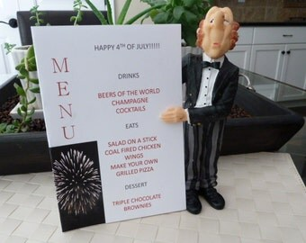 Menu Card - Exploding Fireworks- Fourth of July, New Years, Party Table Decoration