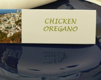 Santorini Greece Landscape Place Cards/ Name Cards/ Food Tents- Set of 6-  Table Decoration