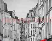 Paris Decor, Black and White Photography with Red, Rue Mouffetard, Paris Print, Paris Street, Paris Roof Tops,