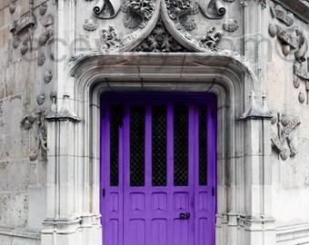 Purple Door Print, Paris Door, Gray, Purple, Rustic, Neutral, Paris Photography, Large Wall Art,  Paris Wall Decor