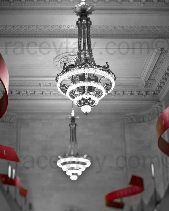 Chandelier Print, Black and White New York Photography, Art Deco Chandeliers, Grand Central Station, NYC Art
