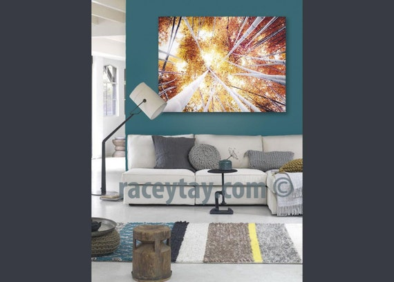 Large Wall Art Canvas, Rustic Wall Decor, Bamboo Forest, Mustard Yellow, Gold, White, Large Canvas Art