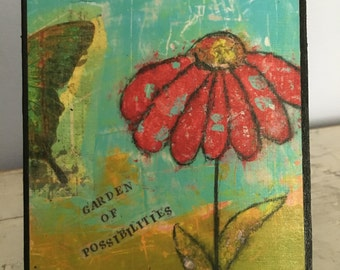 Collage art, mixed media print mounted on wood,Garden Of Possibilites,inspirational,red flower and butterfly