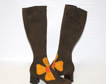 Vintage GO-GO Boots Brown Suede Patchwork Flower Power 8W