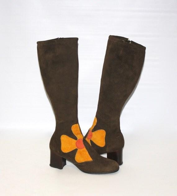 vintage go go boots brown suede patchwork flower power 8w