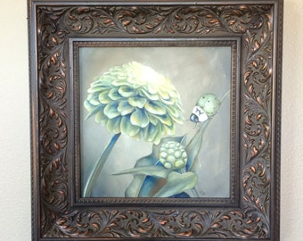 Original surreal framed oil painting 18 x 18: 'Envy' (Green Zinnias and Green Ladybug)