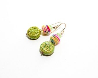 Colorful Fiber Bead Earrings. Small Boho Gypsy Earrings. Rustic Fiber Bead Jewelry.