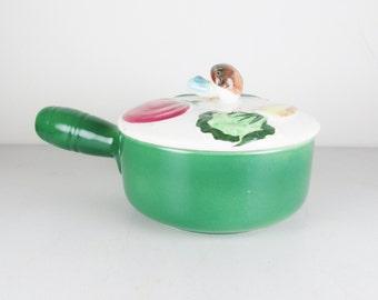 Vintage Nasco Lidded Soup Bowl with Vegetable Motif
