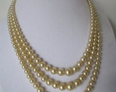 Vintage pearls, 3 strand graduated necklace, deep ivory, very pretty, 1960's England