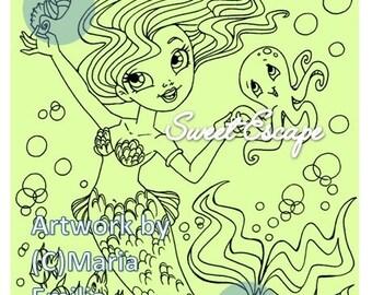 1 Digital Mermaid Coloring Page