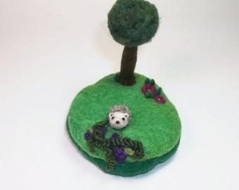 Needle Felted Hedgehog, Miniature Hedgehog Habitat, Tiny Hedgehog, Handmade Hedgehog, Baby Hedgehog, Birthday Hedgehog Gift