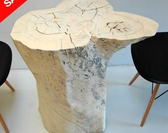 Outdoor Deck Patio Yard Tree Stump Table Fire By