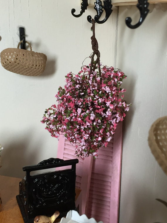 Miniature Hanging Flowers,  Pink and Fuchsia Flowers, Dollhouse Miniature, 1:12 Scale, Dollhouse Flower, Miniature Gardening, Home & Outdoor