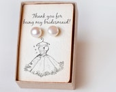 Bridesmaid Gift Jewelry Wedding Earrings Pearl Studs Dutchpearl Pearl Earrings - Gift for Bridesmaids Flower Girl Bridal Jewelry