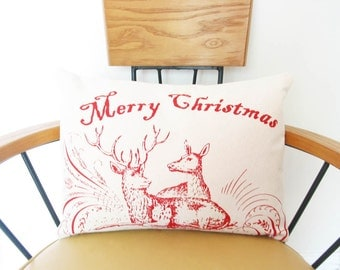 "Christmas Pillow Cover 12"" x 16"" Red Deer Merry Holiday Winter Decor Cotton Canvas Washable Decorative Hostess Wholesale Nashville Tennessee"