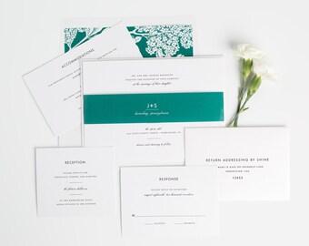 Modern Romance Wedding Invitation - Modern Wedding Invite - Emerald, Green, Floral, Chic, Romantic Wedding Invitations - Sample Set