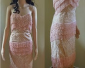 1950s pink blush lace and fringe bustier top shimmy shake dress