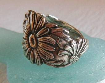 Antique Spoon Ring  Sterling Silver Daisy Size 7.5