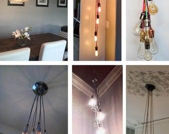 7 Cluster Hanging Light Chandelier Pendant Lighting modern chandelier Cloth Cords Industrial pendant lamp plug in or hardwired