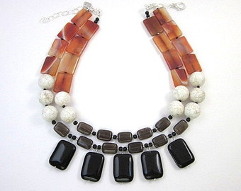 Agate Statement Necklace -- Black Brown White and Orange Necklace -- Fall Bead Necklace -- Women's Fall Necklace -- Onyx & Quartz Necklace