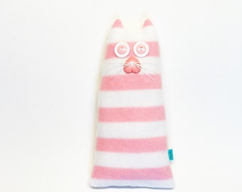 Cat/Kitten Plush Toy - Soft Sculpture - Stuffed Cat - Fleece - Pink/White Stripes - Baby Nursery/Children's Room Decor - Shower Gift - BLISS