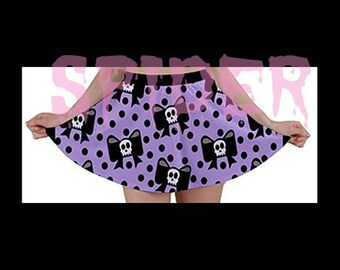 Skull BOw A Line Polka Dot  Skirt Black and Lavender  Spooky Cutie Stretchy Skirts