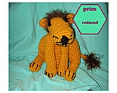 CLEARANCE Crochet  Lion With Fuzzy Mane Amigurumi Large Stuffed Animal Leo Toy