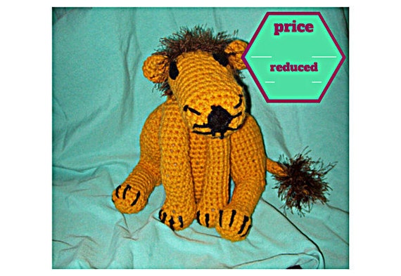 CLEARANCE Crochet Lion With Fuzzy Mane Amigurumi Large