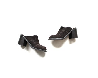 Vintage Leather Mules 6 / Chunky Suede Leather Mules / Brown Leather Clogs / 90s Heels