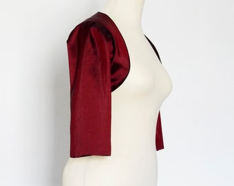 Cranberry Taffeta Bolero With Black Piping - Made by Dig For Victory