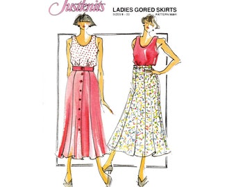 Justknits 96841 Womens Stretch Knit Fabric Gored Skirts 80s Vintage Sewing Pattern Sizes 8 - 22 UNCUT Factory Folds