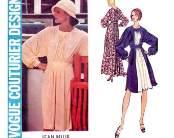JEAN MUIR 70s High Waisted Flowing Dress Pattern Vogue Couturier Design 2804 Vintage Sewing Pattern Boho Maxi Evening Size 14 Bust 36 Inches