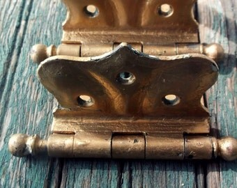 Antique Salvage Architect Door hinges. Half Mortise Hinges. Chippy Distressed Patina. Painted Gold. 2 cast iron renovation hinges