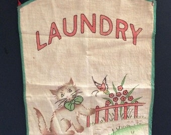 Vtg Childs Embroidered Laundry Apron with Cat