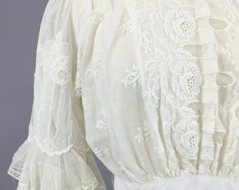 Antique Edwardian Blouse, Embroidered Cotton and Lace Blouse, Downton Abbey 1910s Top with Tiered Lace Sleeves