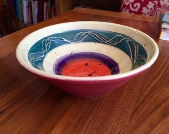 Lemon yellow lime green orange and purple colourful fruit bowl ceramic hand thrown