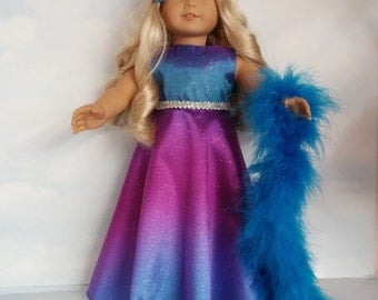 18 inch doll clothes - #264  Blue Rainbow Gown handmade to fit the American Girl Doll - FREE SHIPPING