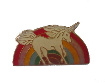 UNICORN RAINBOW vintage cloisonne pin 1980s magical beauty