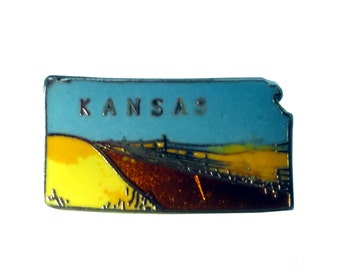 vintage KANSAS STATE lapel cloisonne enamel pin landscape Mafco