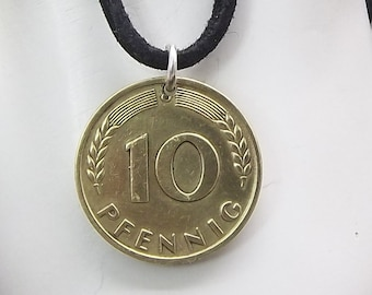 German Coin Necklace, 10 Pfennig, Coin Pendant, Leather Cord, Men's Necklace, Women's Necklace, 1949