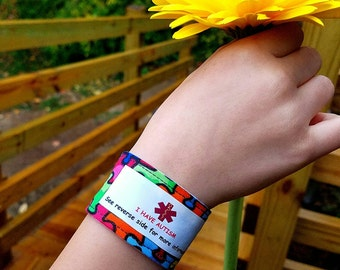 Autism ID Bracelet Autism Awareness Medical Alert Medic Alert Medical ID Autism Fabric Wristband Safety Bracelet Kids Identification