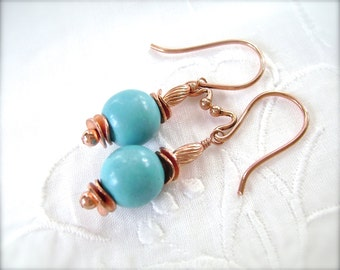 Turquoise Earrings, Chalk Turquoise, Copper Wire, Wire Wrapped, Robins Egg Blue, 838