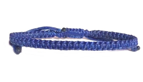 Classic Fair Trade Skinny Royal Blue Cotton Thai Buddhist Wristband Handcrafted Wriswear